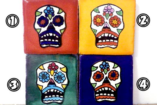 メキシカンタイル カラベラ メキシカンスカル 骸骨 タイル Mサイズ