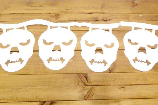 メキシコ 死者の日 ガーランド インテリア 骸骨 飾り パペルピカド スカル しゃれこうべ ホワイト
