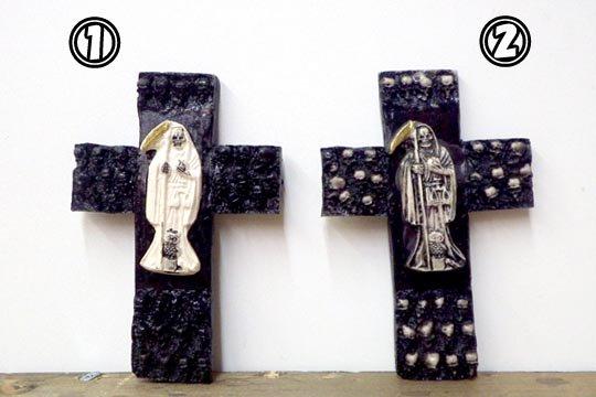 メキシコ 死神 サンタムエルテ クロス お守り インテリア 十字架 壁飾り