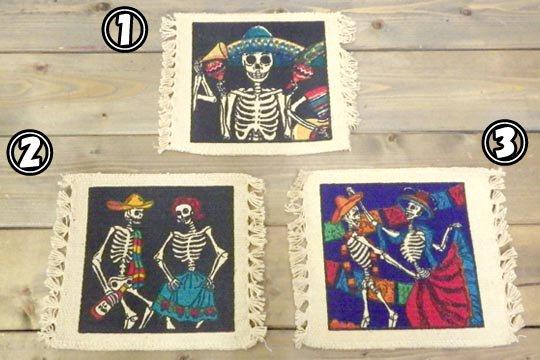 デイ・オブ・ザ・デッド メキシコ 骸骨 シュガースカル メキシカンスカル イラスト デザイン コットン コースター