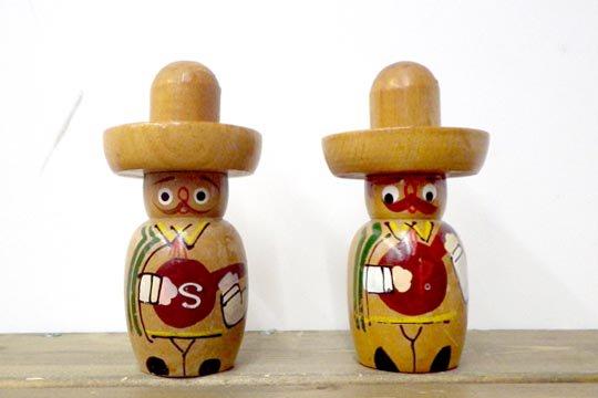 メキシコ マリアッチ ソンブレロ ビンテージ ソルト&ペッパーセット メキシカン キッチングッズ
