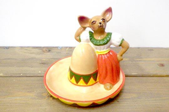 チワワ メキシカン コスチューム ドッグ キッチングッズ ソンブレロ ビンテージ スパイスボトル