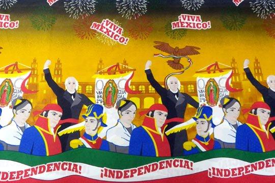 メキシコ 国旗 旗 独立記念 デザイン 布 ファブリック フラッグ 生地 (3メートル サイズ)