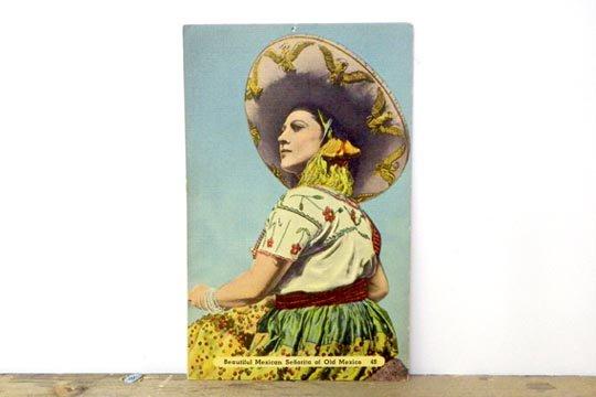 ビンテージ オールド ポストカード ビューティフル メキシカン セニョリータ ソンブレロ