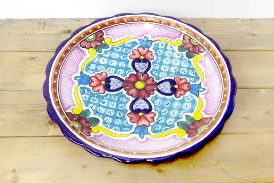 メキシコ 陶器 タラベラ焼き 皿 30�サ...