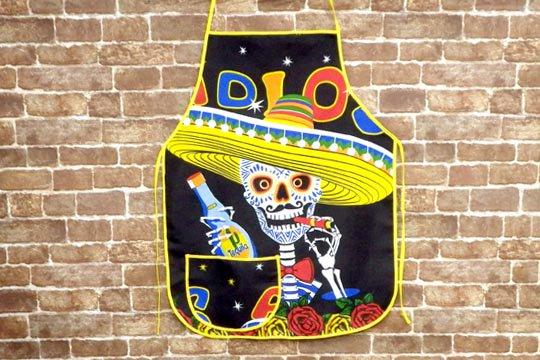 メキシコ スカル カラベラ 死者の日 ソンブレロ テキーラ 骸骨 デザイン メキシカン キッチン エプロン