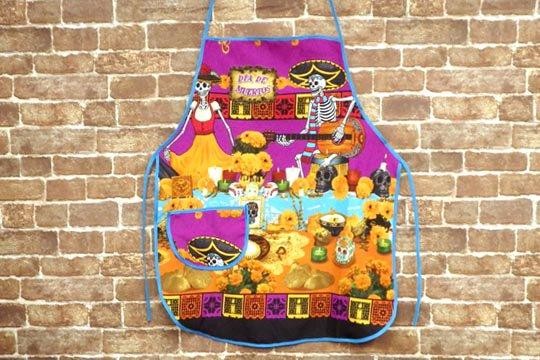 メキシコ スカル カラベラ 死者の日 デイ・オブ・ザ・デッド デザイン メキシカン キッチン エプロン