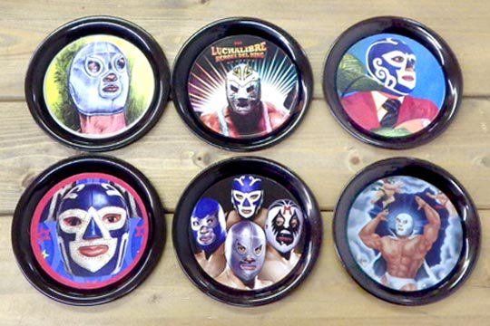 ルチャ・リブレ レスラー メキシコ プロレス メキシカン メタル コースター ミニ トレイ