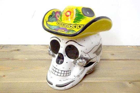 メキシカンスカル カラベラ 骸骨 頭蓋骨 貯金箱 ソンブレロ バンク