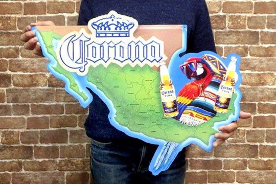 コロナ メタル ビンテージ サイン プレート パロット マップ メキシカン ビール インテリア