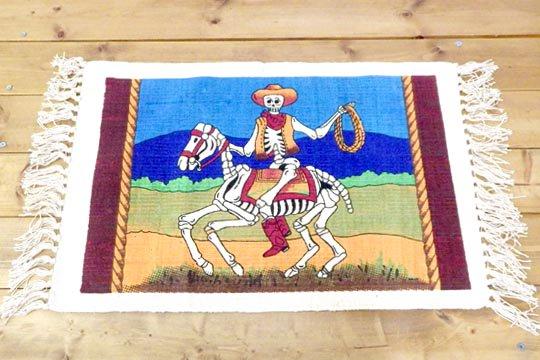 ウエスタン カウボーイ スカル 骸骨 荒野 馬 ホース イラスト デザイン コットン ランチョンマット