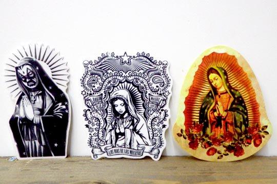 Oilshock Designs メキシコ マリア グアダルーペ プレイングハンド ステッカー シール