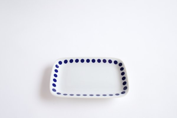 藍小紋 銘々皿 水玉