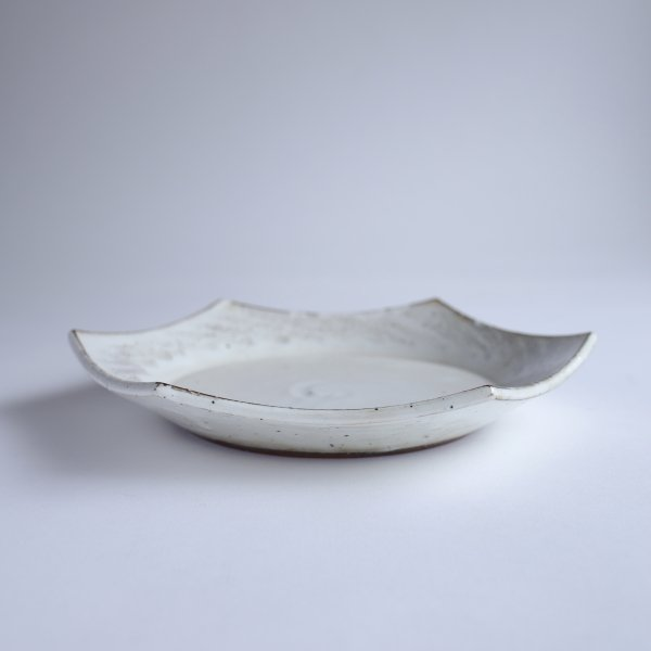 粉引くし目 六角皿(大)