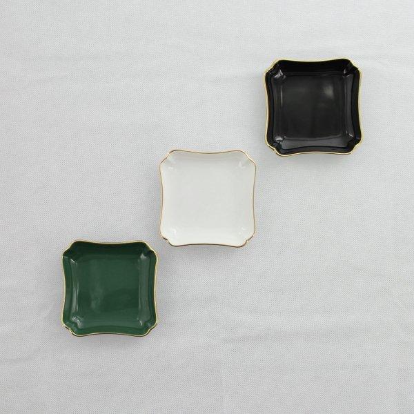ロイヤル正角アミューズ皿 グリーン&ゴールド