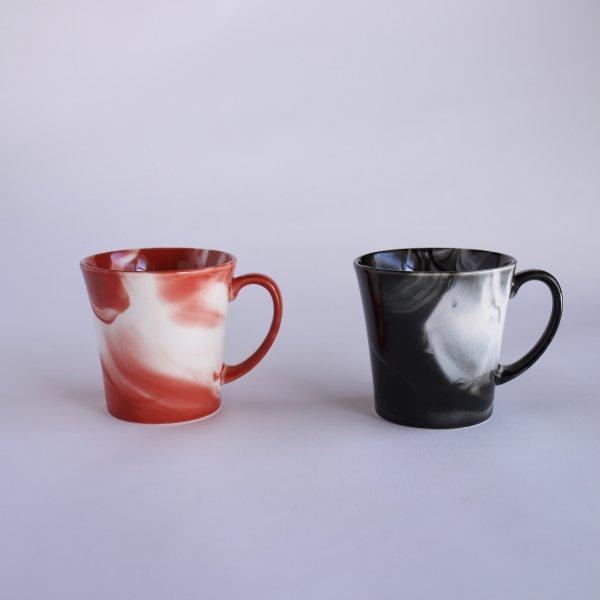 マーブル マグカップ 赤・黒