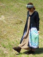 ハンサム染め最新作!!新型前開きのロングワンピース♪ブラックビューティ☆藍碧色の宝石のような大曼荼羅♪