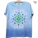 <img class='new_mark_img1' src='https://img.shop-pro.jp/img/new/icons15.gif' style='border:none;display:inline;margin:0px;padding:0px;width:auto;' />Hippies Dye☆Tシャツ Lサイズ 段染めブルーに曼荼羅模様☆