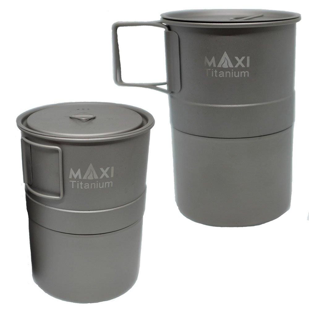 マキシ エスプレッソ コーヒーメーカー 400ml グレード1チタン トレイル アウトドア キャンプ Maxi Espresso Coffee Maker 400ml MX-ECM400