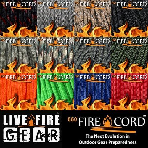 550ファイヤーコード 7.62メートル 25ft サバイバルキット ロープ 着火剤になる紐 火おこし サバイバル キャンプ アウトドア Live Fire Gear 550 Fire Cord
