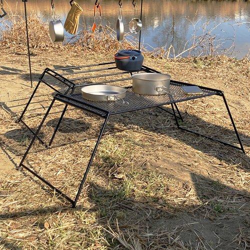 <img class='new_mark_img1' src='https://img.shop-pro.jp/img/new/icons1.gif' style='border:none;display:inline;margin:0px;padding:0px;width:auto;' />屋外アイアン折りたたみテーブル バー&メッシュテーブル キャンプテーブル Huehuecoyotl Outdoor Works Camp Bar & Mesh Table