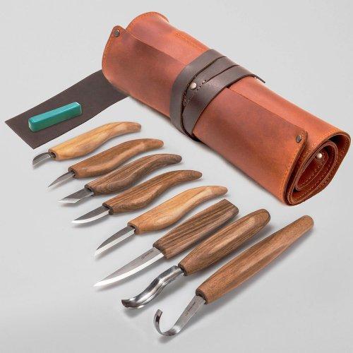 限定版 ビーバークラフト ウッドカービングセット Beaver Craft Extended Wood Carving Set in Genuine Leather Roll