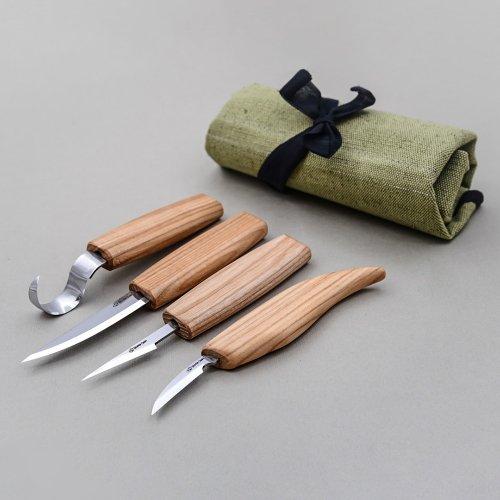 ビーバークラフト ツールロール ナイフ4本セット Beaver Craft Set of 4 Knives in Tool Roll