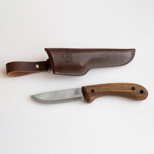 ビーバークラフト ステンレススチール ブッシュクラフトナイフ レザーシース付き ウォールナットハンドル Beaver Craft