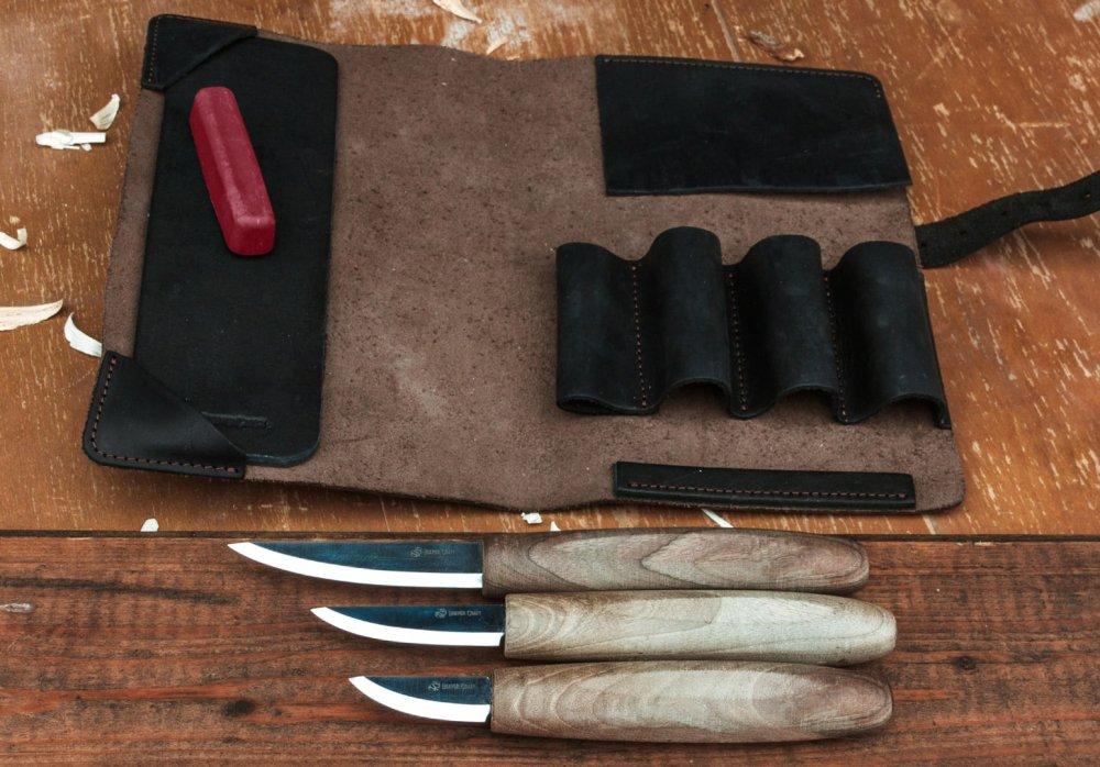 ビーバークラフト 本革ロールのスロイドナイフカービングセット C1X + C3X + C4X +ホーニングアクセサリー Beaver Craft