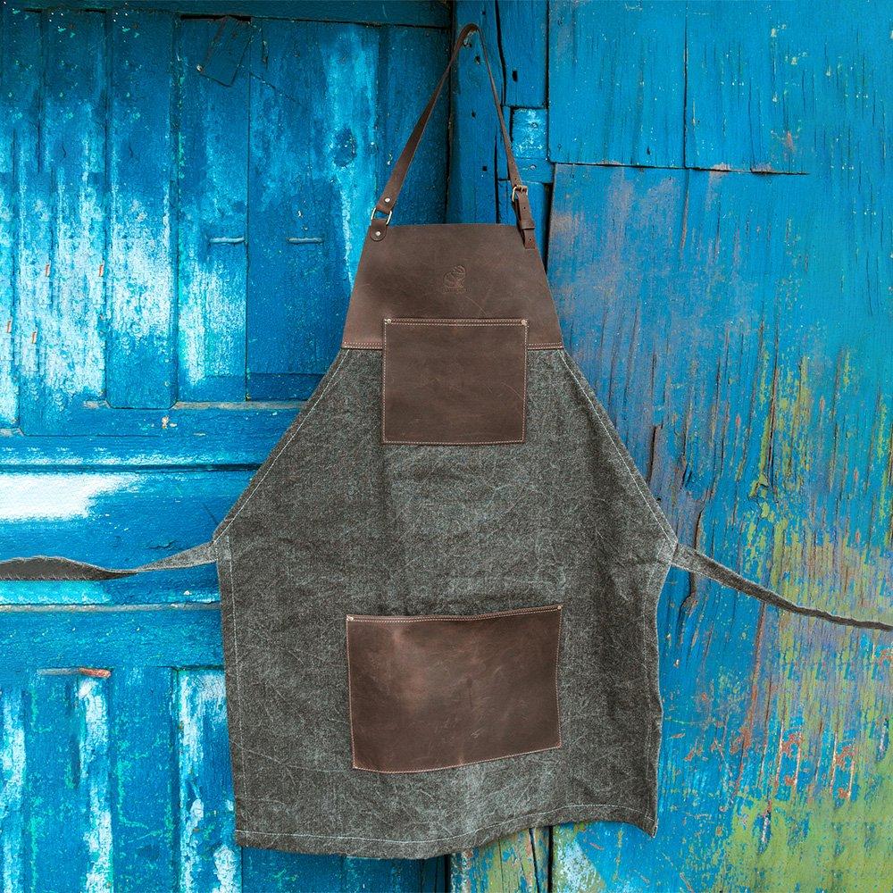 ビーバークラフト ブラウンキャンバス レザーホイットリング付き エプロン 本革 Beaver Craft Brown canvas with Leather Whittling Apron