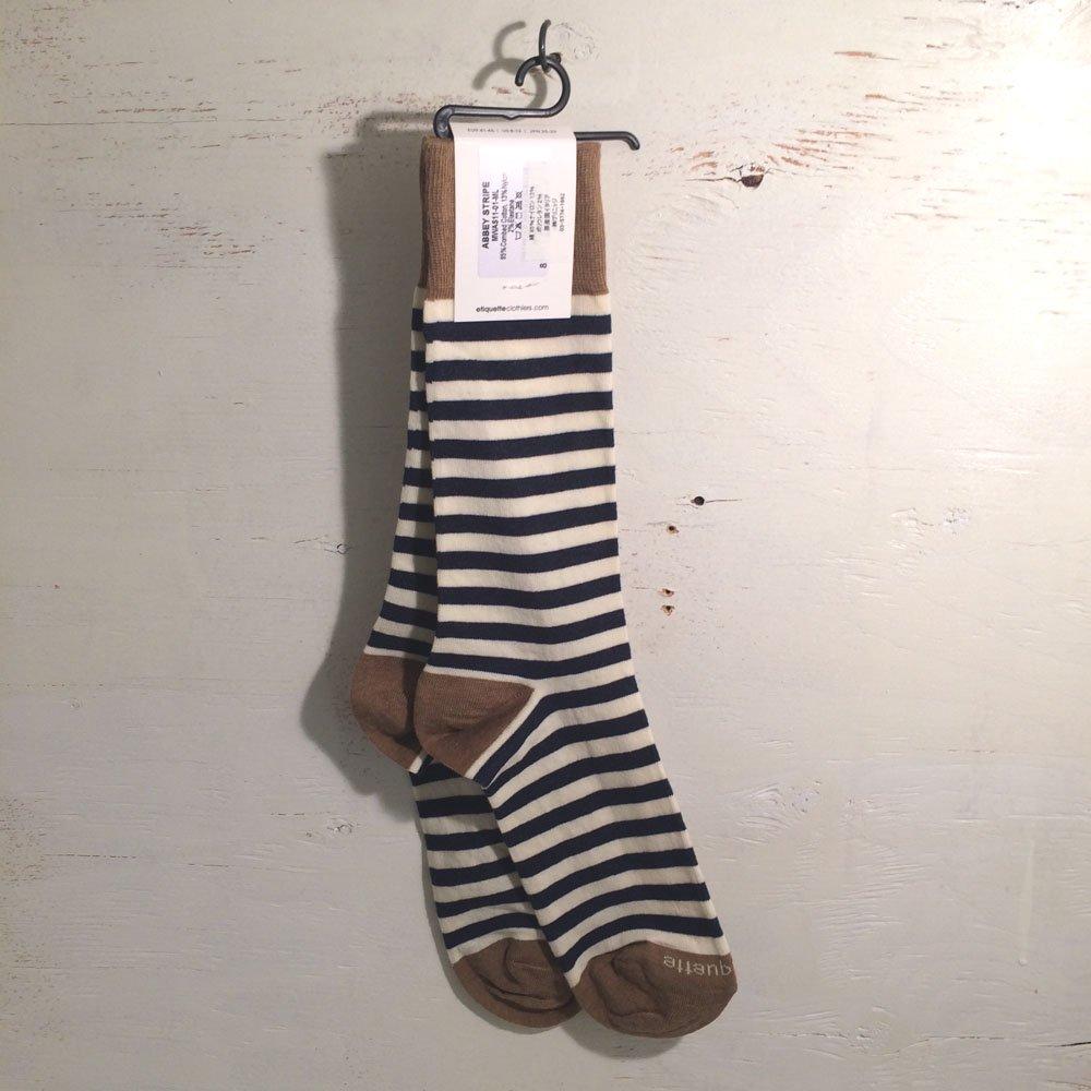etiquette CLOTHIERS エチケットクロージャーズ 靴下 クルーソックス メンズ ABBEY STRIPES Vintage Blue Heather