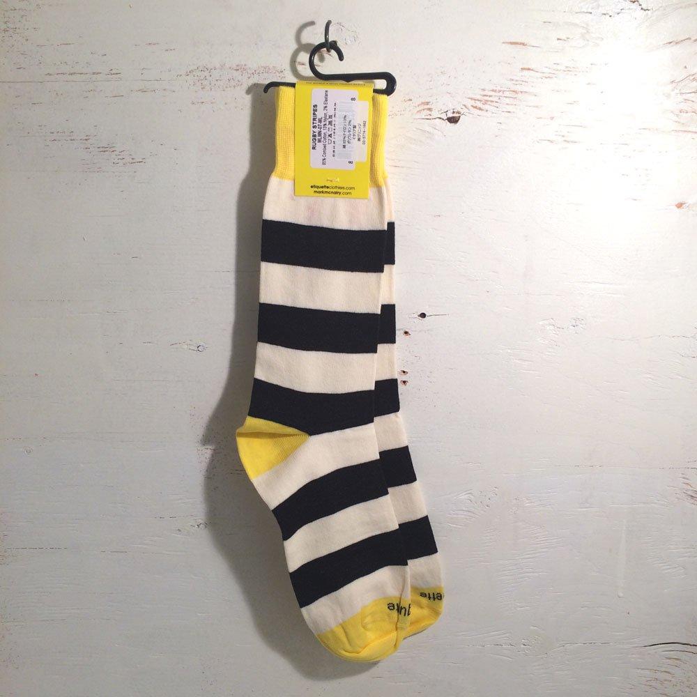 エチケットクロージャーズ クルーソックス 靴下 メンズ ETQ X McNAIRY RUGBY STRIPES Black Yellow