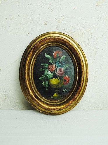 小さな木製ピクチャーフレーム 花瓶黄色