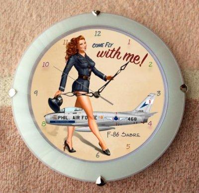 F-86 セイバー戦闘機・壁掛け時計 オーランドDX 球面ガラス使用 ホワイト  ( 33cm )