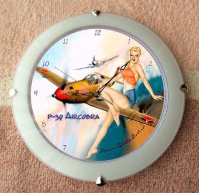 P-39 エアラコブラ戦闘機・壁掛け時計 オーランドDX 球面ガラス使用 ホワイト  ( 33cm )