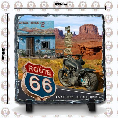 USA Route 66 「アメリカ国道66号線」フォト・ストーン/写真スレート スクエアー 20cm