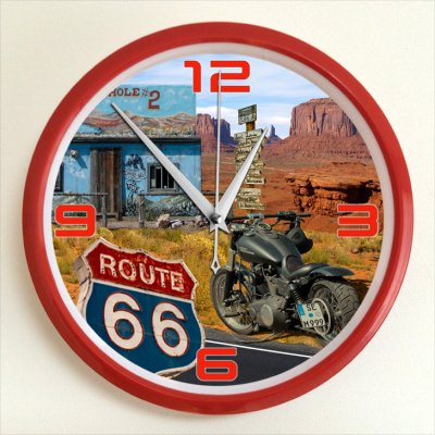USA Route 66 「アメリカ国道66号線」掛け時計 25cm
