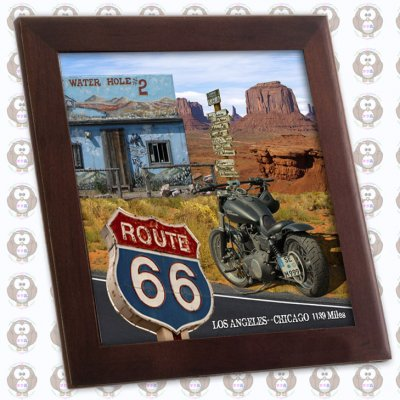 USA Route 66 「アメリカ国道66号線」 木枠フォトタイル