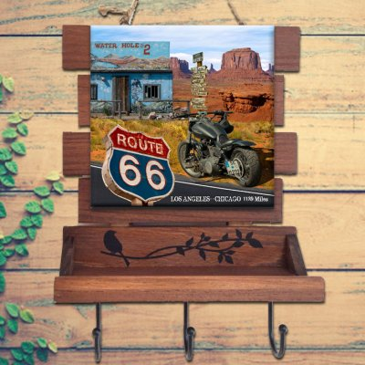 USA Route 66 「アメリカ国道66号線」木枠タイル・キーフック