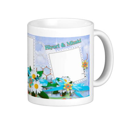 Flowers, lace & butterflies. 花、チョウとリボン おしゃれな写真3枚入り マグカップ 0956