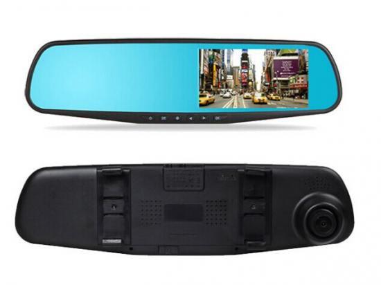 【ドライブレコーダー】ルームミラー型 4.3インチモニター 薄型スマート 循環上書き録画 Gセンサー搭載