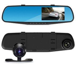 【ドライブレコーダー】ルームミラー型 フロント・リヤダブルカメラ 4.3インチモニター 薄型スマート 循環上書き録画 Gセンサー搭…