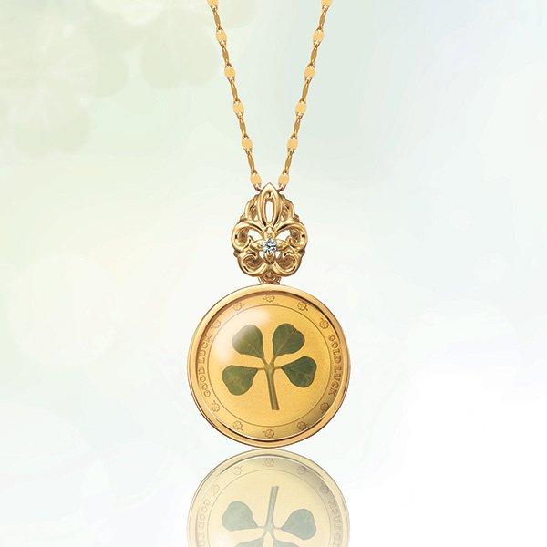 50041000 〈幸運のクローバー金貨〉 宝飾純金コインペンダント