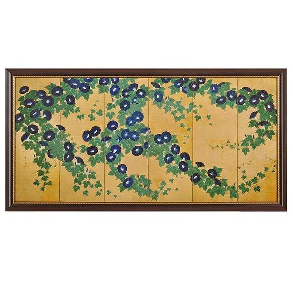 NKー1003  鈴木其- 「朝顔図屏風」 複製(額装)