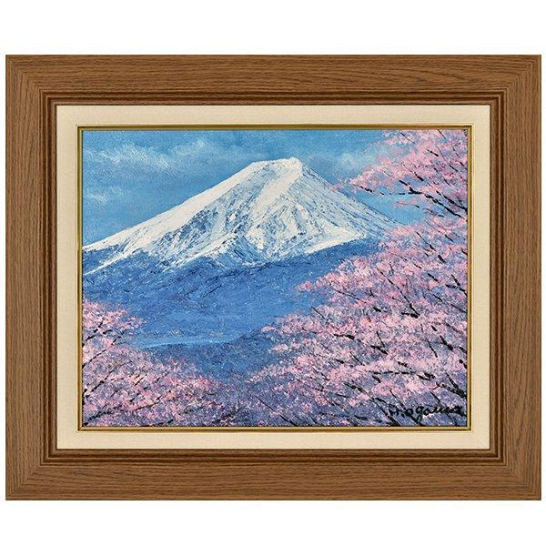 UK−4622  富士に桜 F6号 画 小川久雄 -おがわ ひさお 額画 絵画