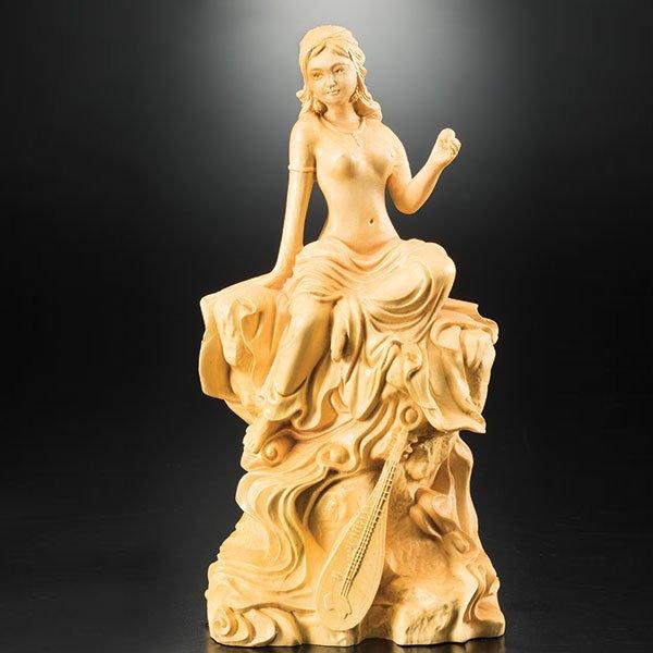 KW−1113 吉祥弁財天 彫り 木彫り つげ