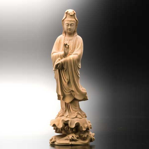 KW−1125  黄楊一杢彫り 聖観音菩薩立像