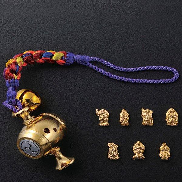 KW−1126 黄金打出の小槌 七福神入り 根付 縁起