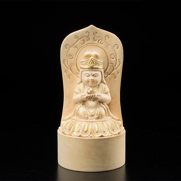 KW−1150 童観音「願い」 わらべかんのん ねがい  彫り ひのき 仏像
