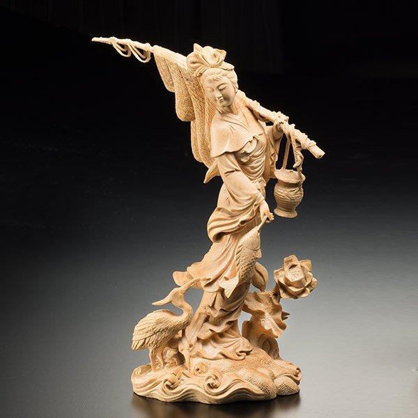 KW−1151 豊穣 〜喜びの乙女たち〜 <釣り> 一杢彫り つげ